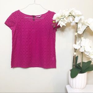 Lilly Pulitzer | Lace Blouse Top Magenta Medium